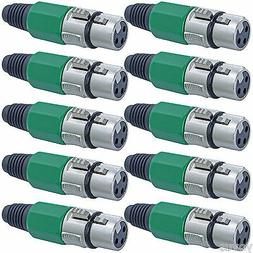 10 serviceable Green XLR female microphone audio cable conne