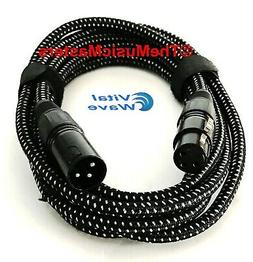 10ft Woven XLR Microphone Audio Cable Mic Extension Amp Powe