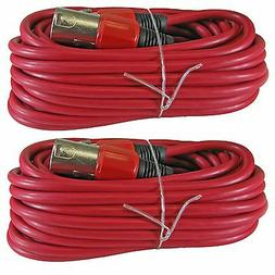 2 pack 25 FT foot colored 3pin premium XLR mic microphone ex