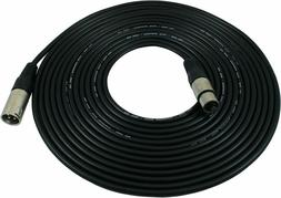 25 foot Mic Cable Patch Cords - XLR Male to XLR Female Black