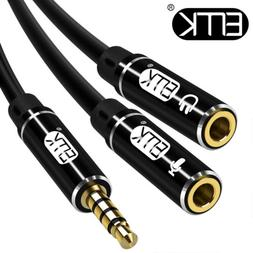 EMK 3.5mm Microphone Splitter Audio Cable Male to 2 Female P