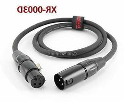 3ft Kirlin XLR Male to Female 20AWG Microphone Audio Extensi
