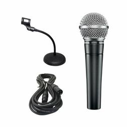 Shure SM58-LC Vocal Microphone w/Desk Stand & XLR Cable